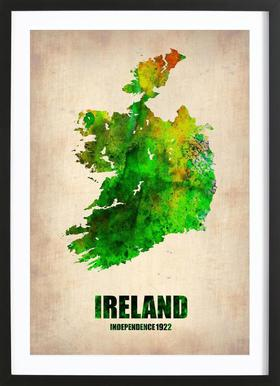 Ireland Watercolor Map Poster in Wooden Frame