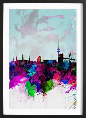 Hamburg Watercolor Skyline Poster in Wooden Frame