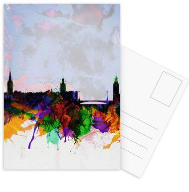 Stockholm Watercolor Skyline Postcard Set