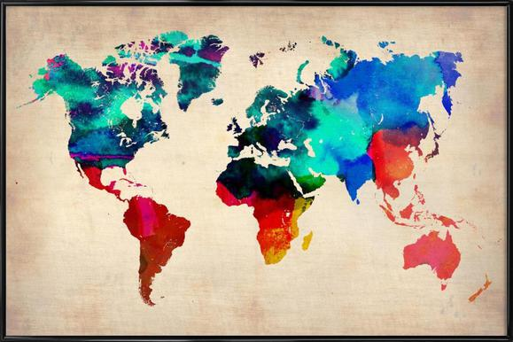 World watercolor map as canvas print by naxart juniqe world watercolor map naxart poster in standard frame gumiabroncs Image collections