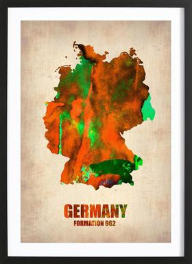 Germany Watercolor Map Poster in Wooden Frame