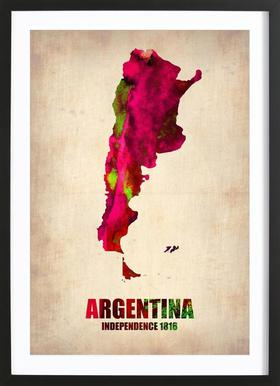Argentina Watercolor Map Poster in Wooden Frame