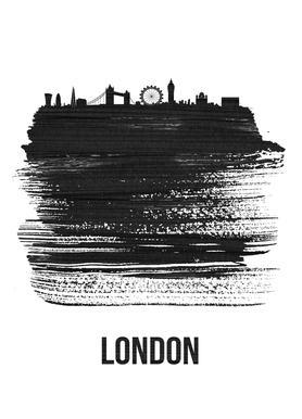 London Skyline Brush Stroke Canvas Print