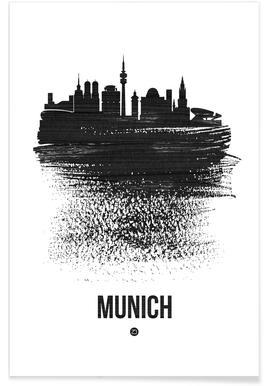 Munich Skyline Brush Stroke Poster