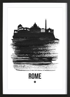 Rome Skyline Brush Stroke Poster im Holzrahmen