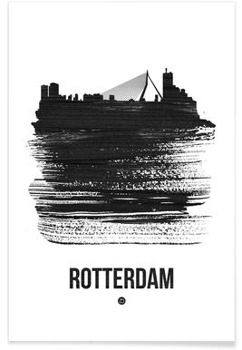 Rotterdam Skyline Brush Stroke Poster