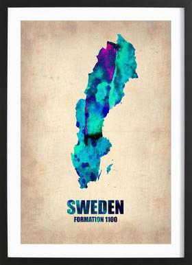 Sweden Watercolor Map Poster in Wooden Frame