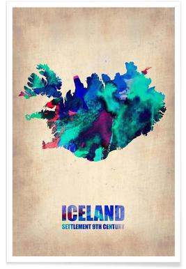 Island-Aquarell-Landkarte Poster