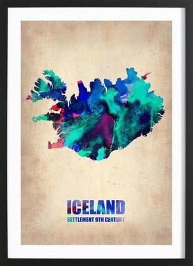 Iceland Watercolor Map -Bild mit Holzrahmen