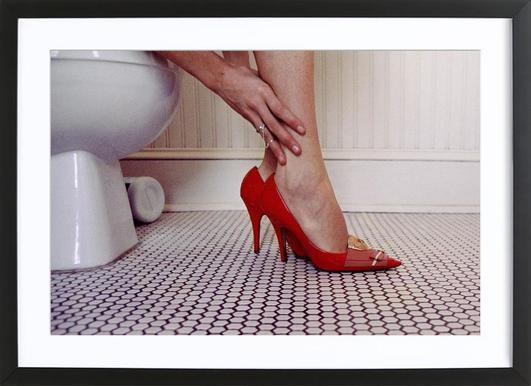 Louis Vuitton Red Shoe Blues Poster in houten lijst