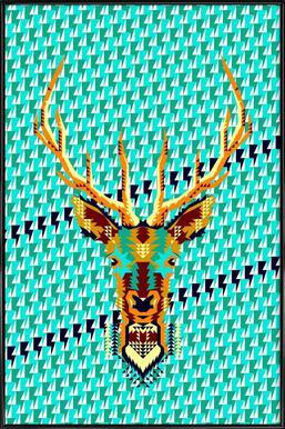 Geometric Deer Framed Poster