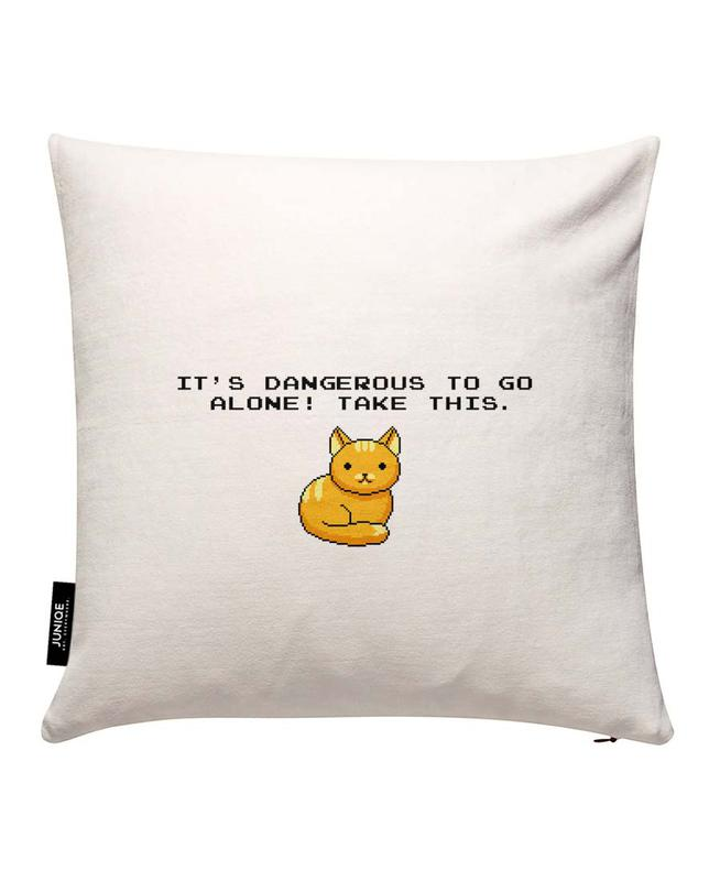 Its Dangerous To Go Alone Take This Cat Housse de coussin