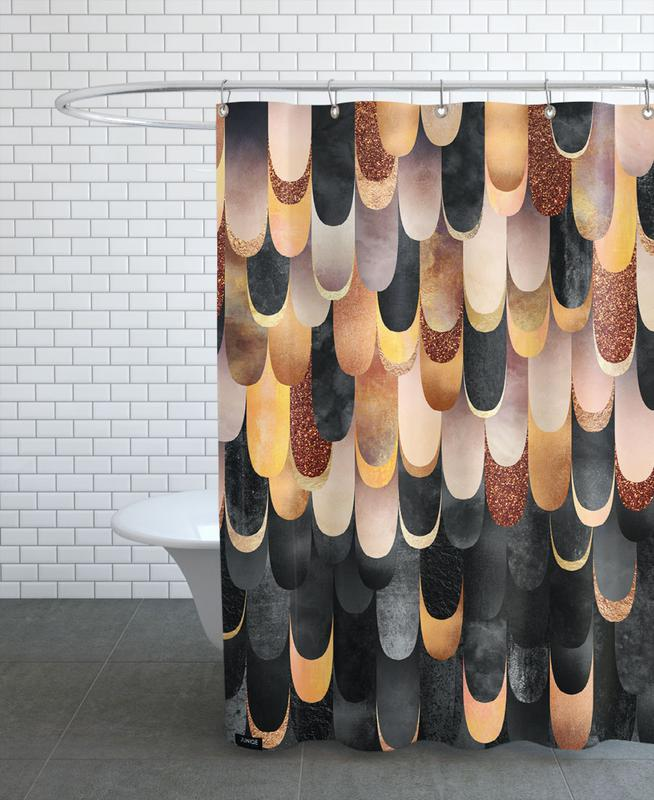 Feathered Copper & Black Shower Curtain