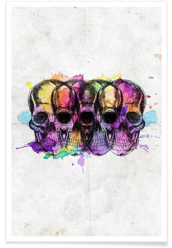 Watercolor Skulls Poster