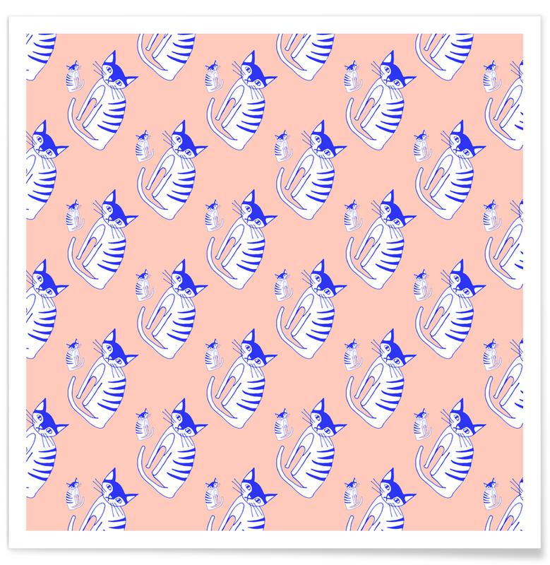 Cat Peach Pattern Poster