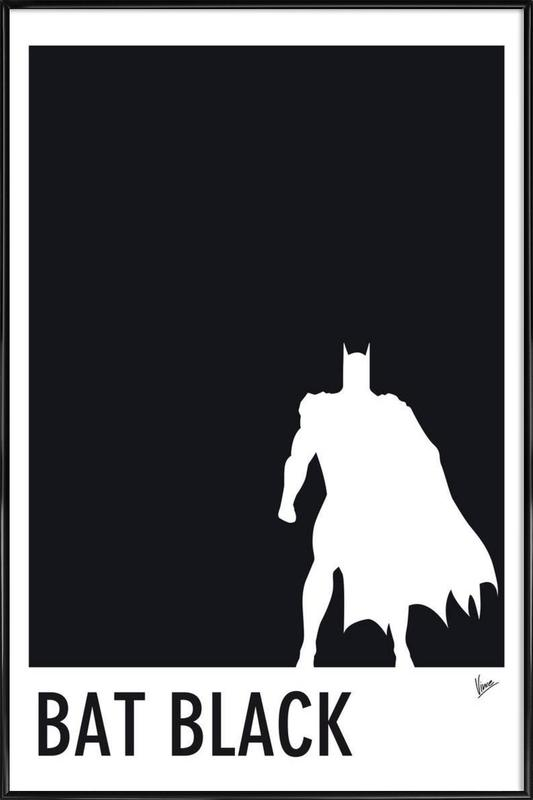 My Superhero 02 Bat Black Minimal Poster Framed Poster