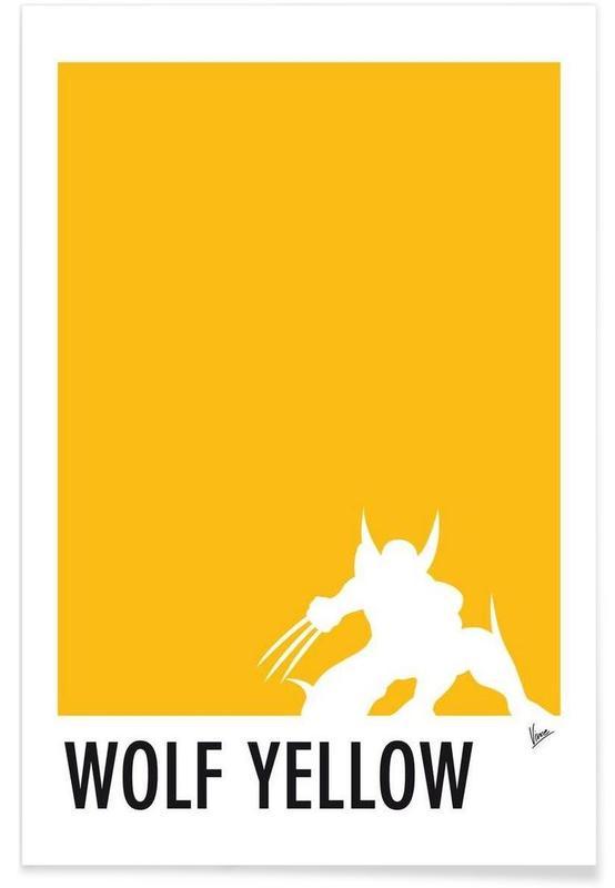 My Superhero 05 Wolf Yellow Minimal Poster -Poster