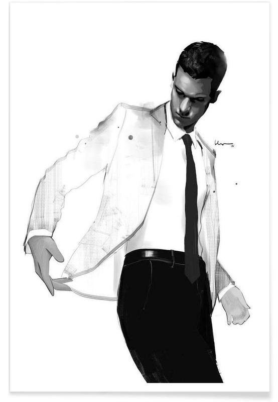 Man in white suit affiche