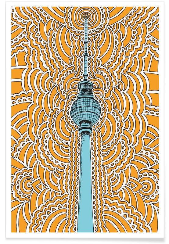 Fernsehturm Drawing Meditation (orange) affiche