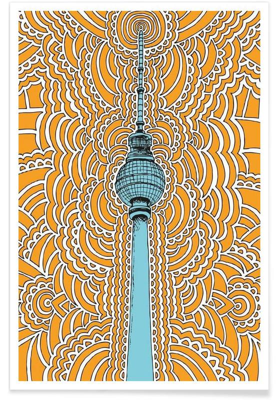 Fernsehturm Drawing Meditation (orange) -Poster