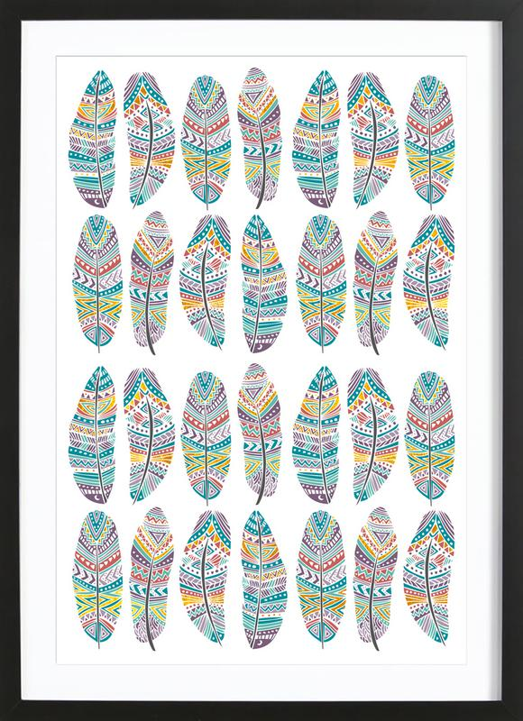Feathers Pattern with Gold Framed Print