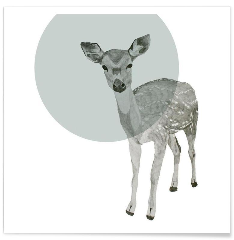 Deer Drawing Poster