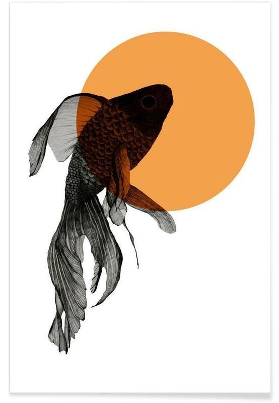 Poisson rouge - Dessin affiche