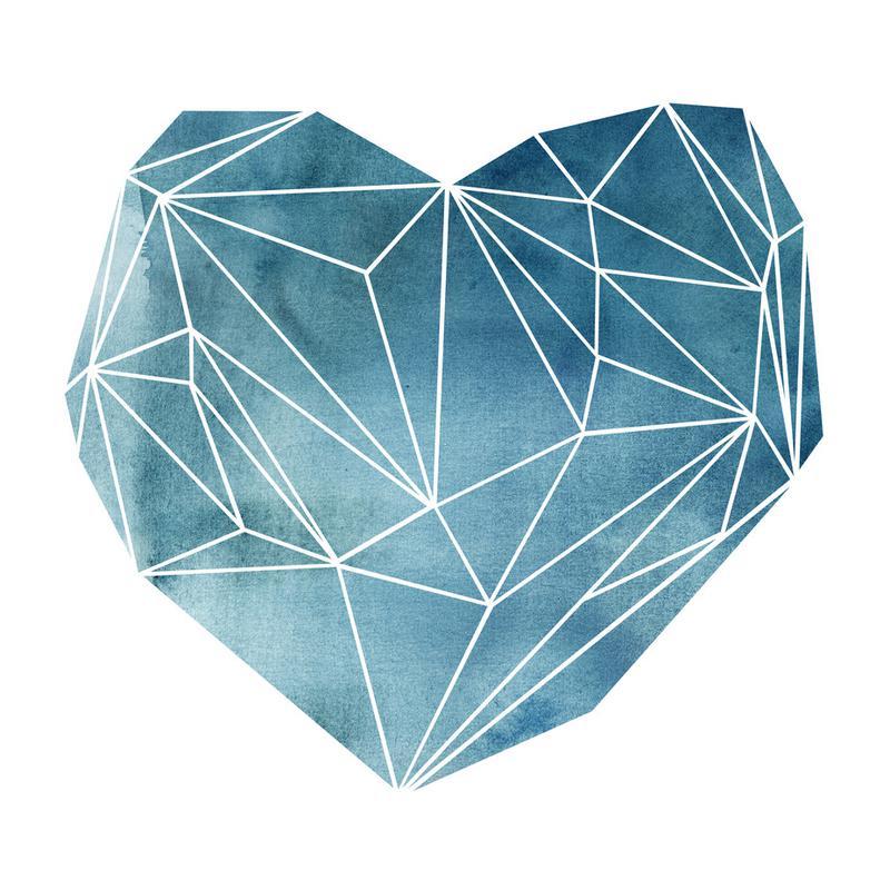 Heart Graphic Watercolor Blue -Alubild