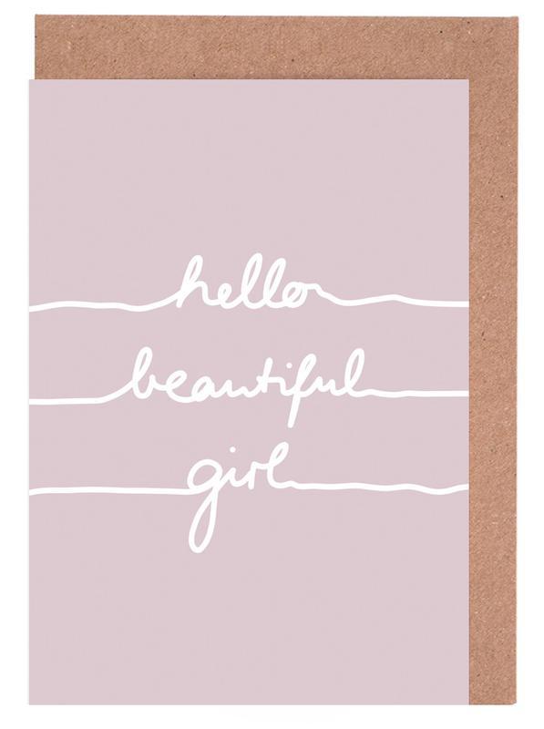 Hello Beautiful Girl Greeting Card Set