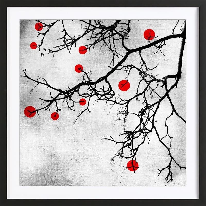 Winter tree Abstract Red Framed Print