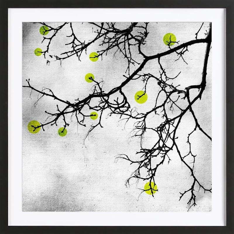 Winter tree Abstract Yellow Framed Print