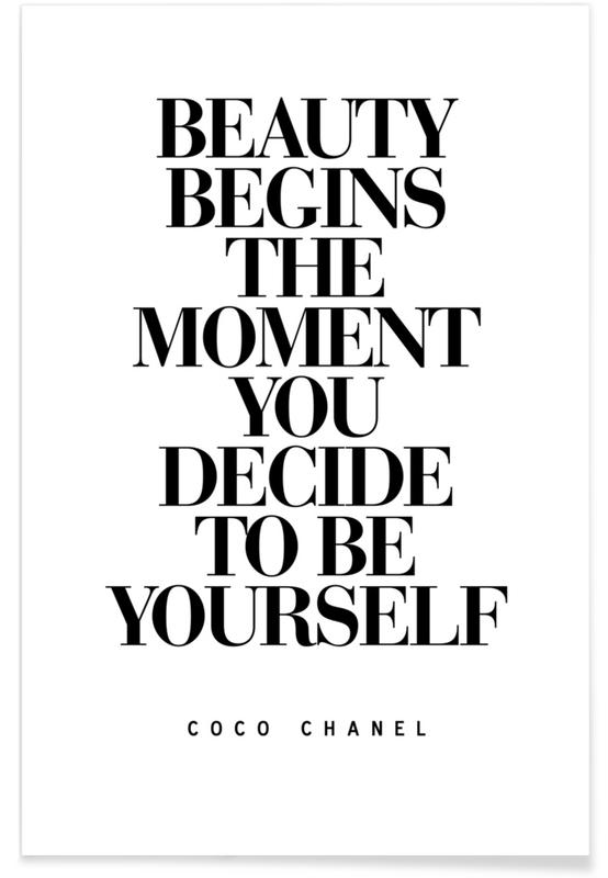 « Beauty Begins », citation de Coco Chanel affiche