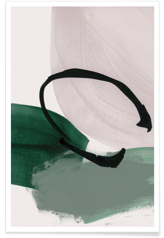Minimalisme Vert et Ivoire - Abstrait affiche