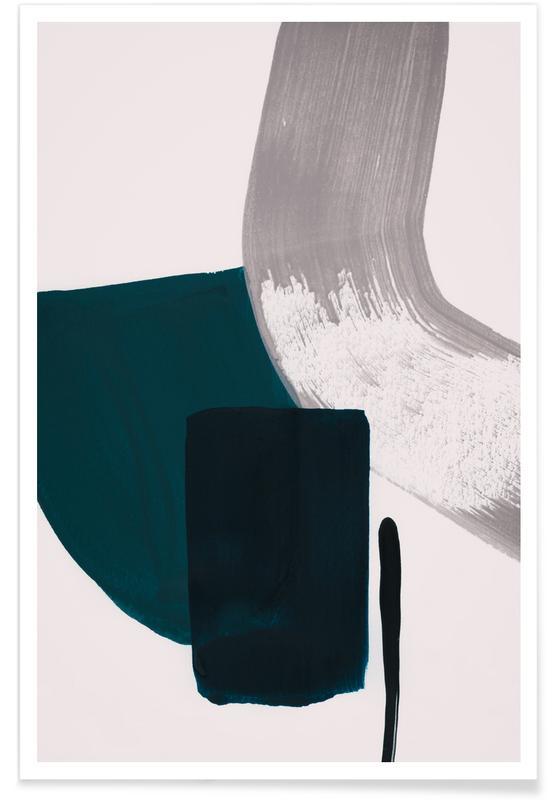 Minimalismus-Blaugrün und Grau – abstrakt -Poster