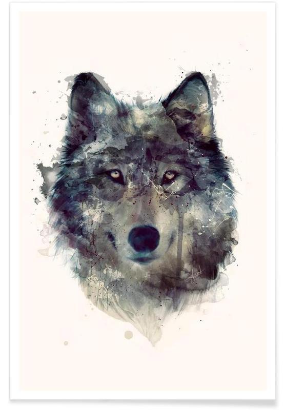 Wolf illustratie poster