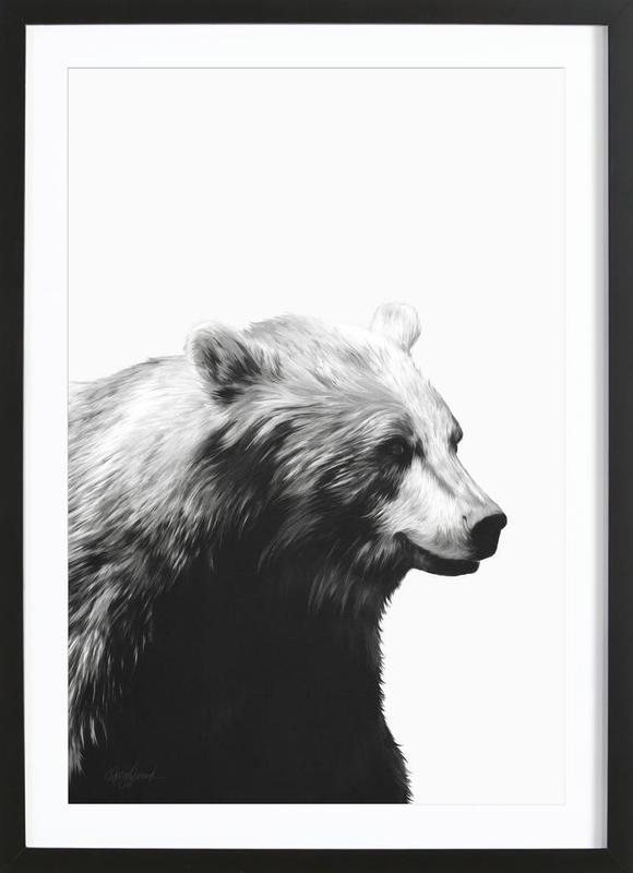 Calm Black and White -Bild mit Holzrahmen