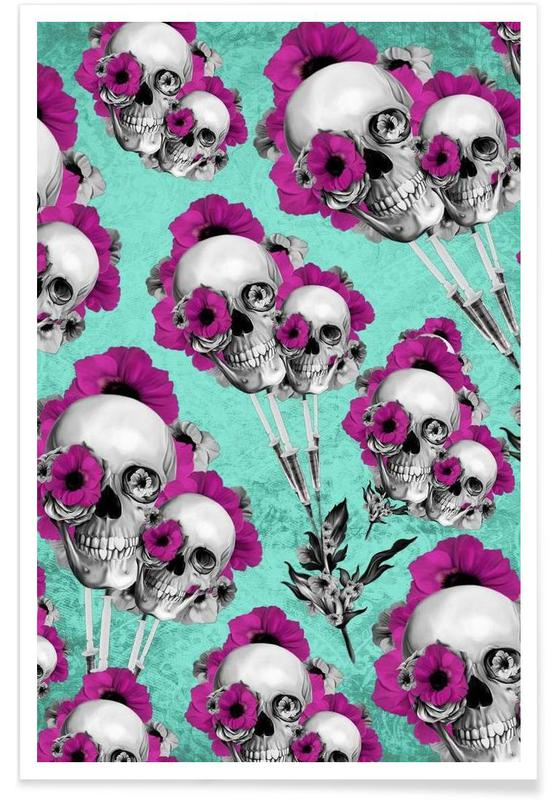 Skulls and Poppies Pattern poster