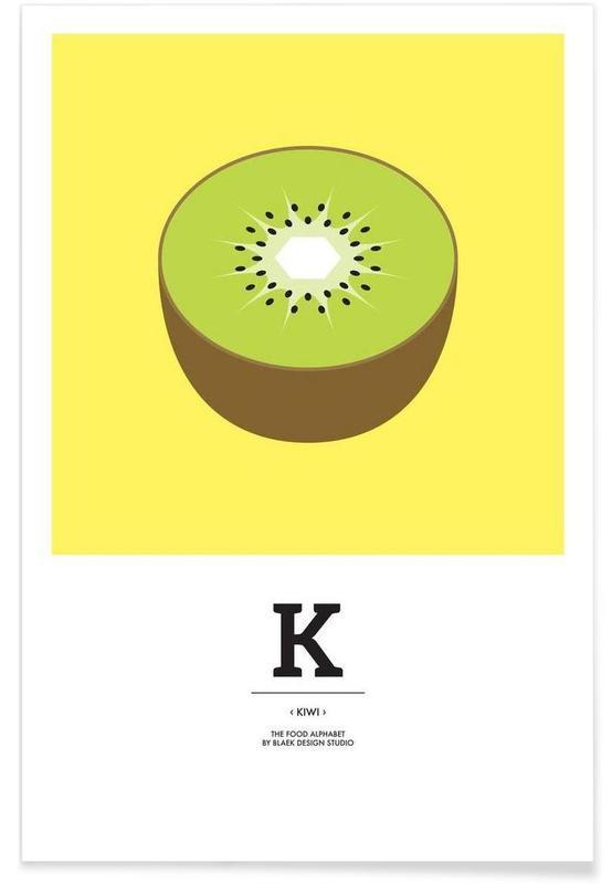 """The Food Alphabet"" - K like Kiwi Poster"