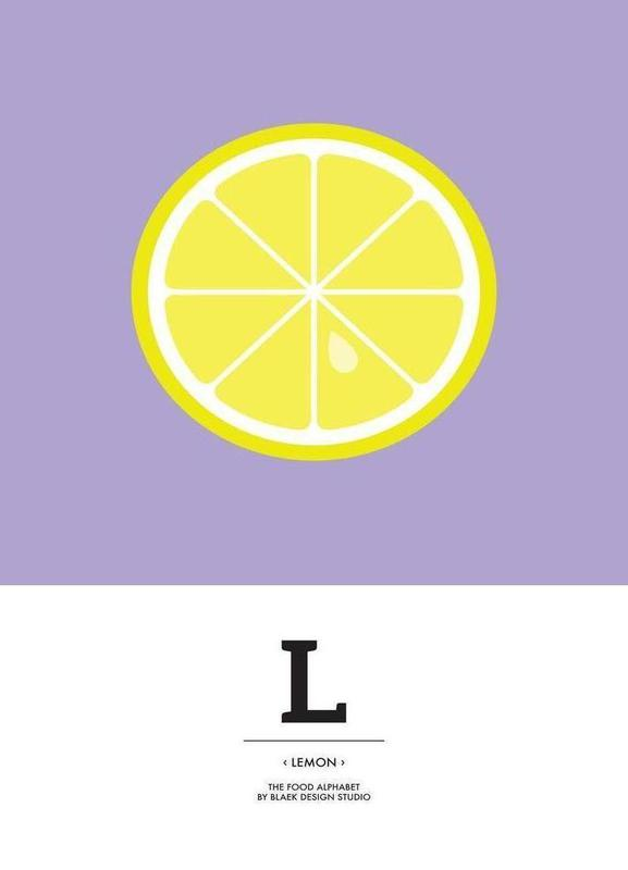 """The Food Alphabet"" - L like Lemon canvas doek"