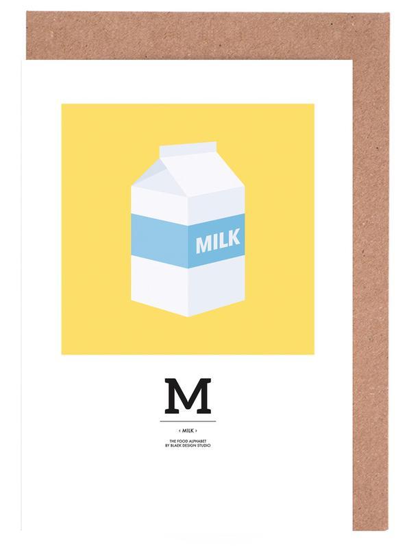 """The Food Alphabet´´ M like Milk Grußkartenset"