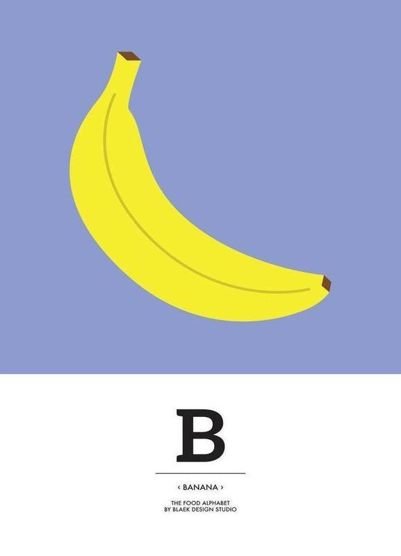 """The Food Alphabet"" - B like Banana canvas doek"