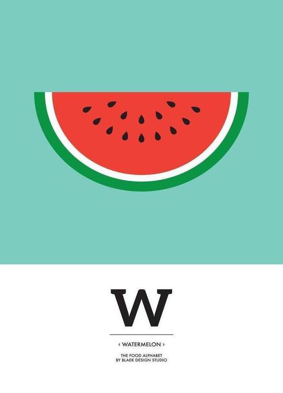 """The Food Alphabet"" - W like Watermelon canvas doek"