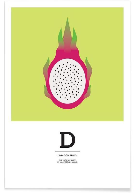"""The Food Alphabet"" - D like Dragon Fruit -Poster"