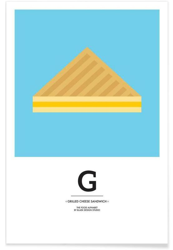 """""""The Food Alphabet"""" - G like Grilled Cheese Sandwich Poster"""