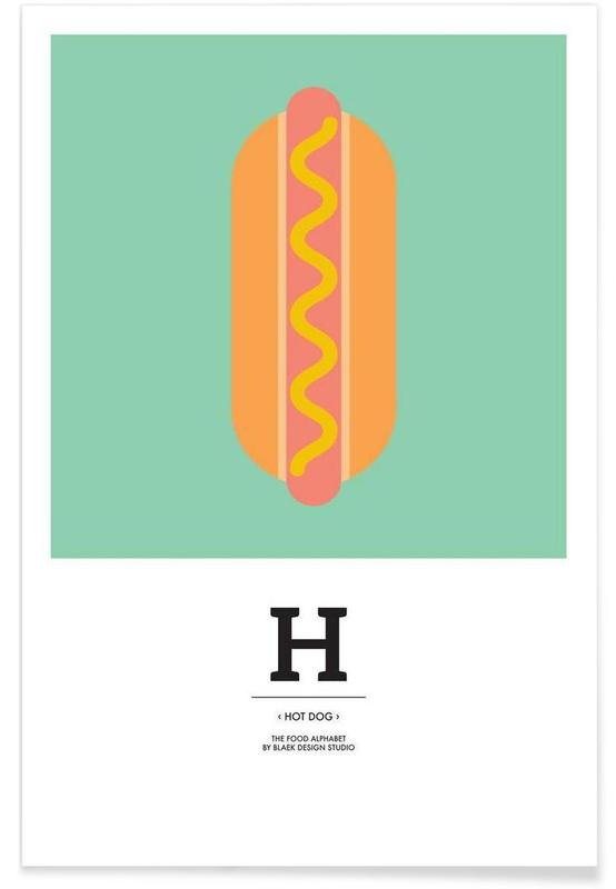 """""""The Food Alphabet"""" - H like Hot Dog Poster"""