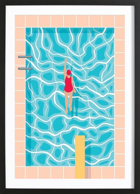 Pool -Bild mit Holzrahmen