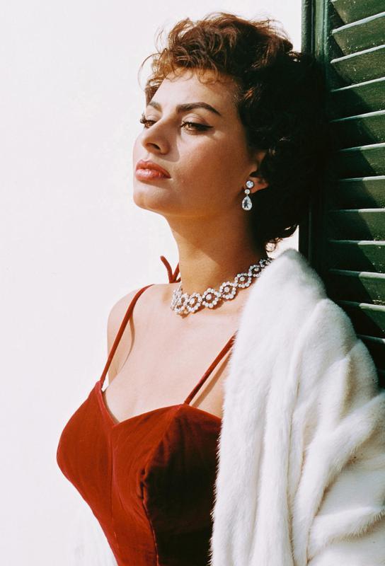 Sophia Loren in Red Aluminium Print