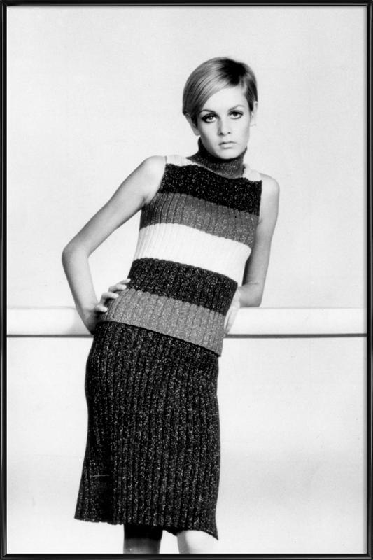 Twiggy in a knitted suit Framed Poster