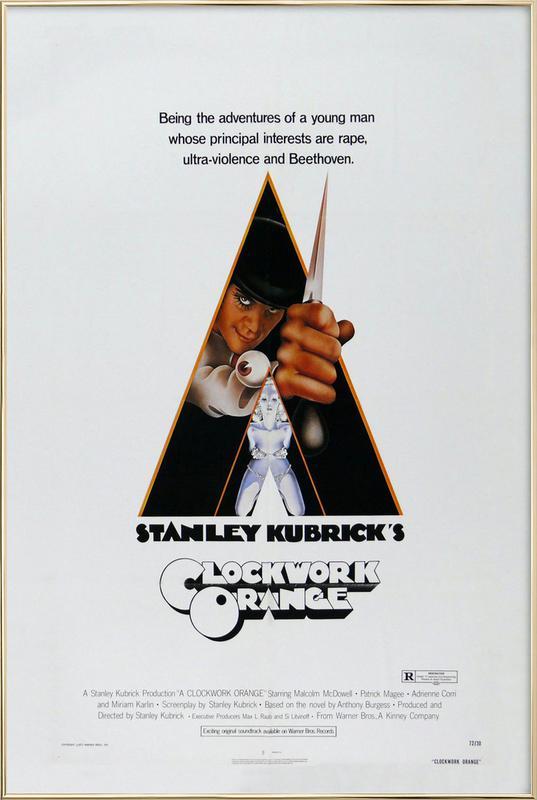 'A Clockwork Orange' Retro Movie Poster Poster in Aluminium Frame