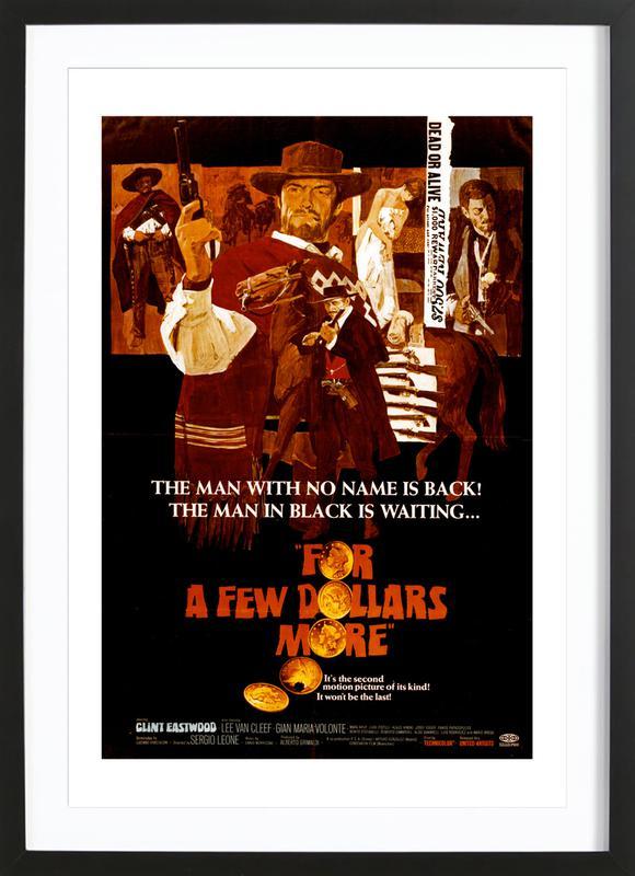 'For a Few More Dollars' Retro Movie Poster -Bild mit Holzrahmen